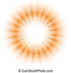 sol, vektor, stråle, isolerat