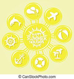 sol, verão, ícones