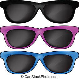 sol, vetorial, óculos