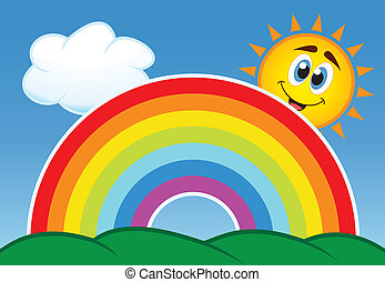 sol, vetorial, arco íris, nuvem