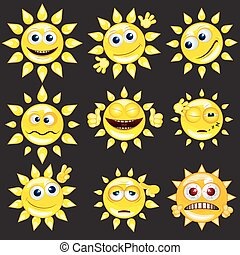 sol, vetorial, jogo, caricatura, smiley.