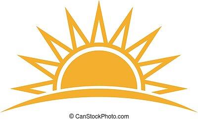 sol, vetorial, logo., ilustração