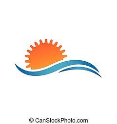 sol, vetorial, sea., verão