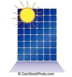 sol, vetorial, solar, ilustração, painel