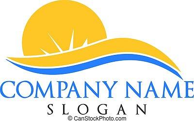 sol, viagem, ondas, logotipo, turismo, design.