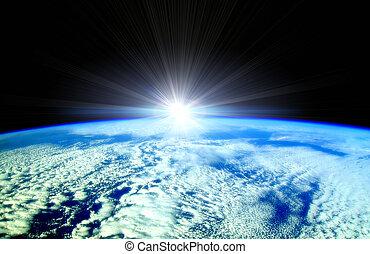 sol, vigas, encima, tierra, horizonte