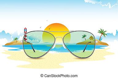 sol, vista, através, mar, óculos