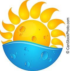 sol, y, agua, ilustración