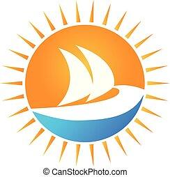 sol, y, barco, logotipo, vector