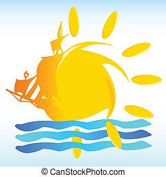 sol, y, barco, señal, vector, ilustración