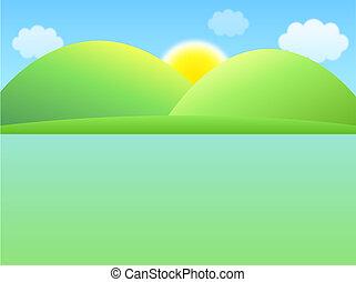 sol, y, colina