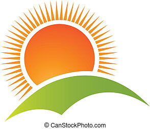 sol, y, colina, montaña, logotipo, vector