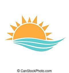sol, y, mar, ondas