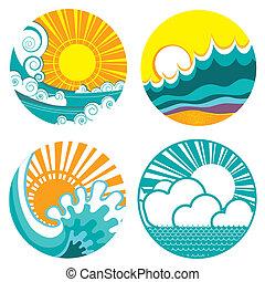 sol, y, mar, waves., vector, iconos, de, ilustración, de,...