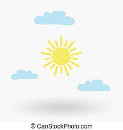 sol, y, nube, tiempo, tela, icon.