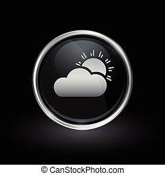 sol, y, nubes, icono, dentro, redondo, plata, y, negro,...