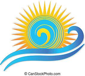 sol, y, ondas, logotipo