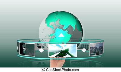 solaire, animation, enroulez énergie