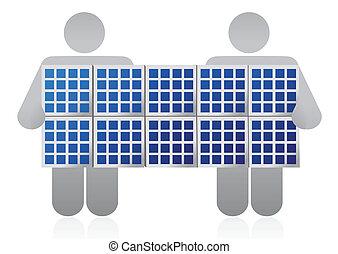 solaire, concurrence, panneau
