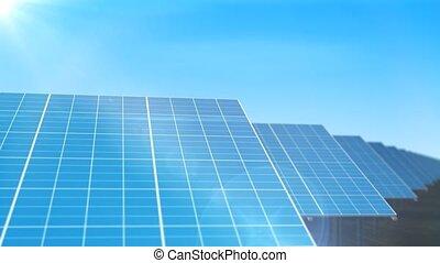 """solaire, """"long, panneaux, ligne, """", côté, tourner"""