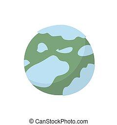 solaire, neptune, système, isolé, planète, fond, blanc, style., dessin animé