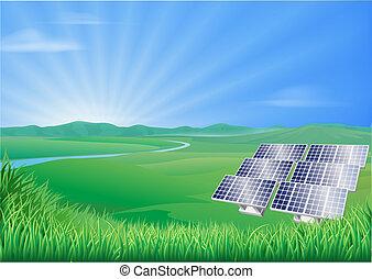solaire, paysage, illustration, panneau