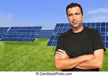 solaire, plaques, portrait, homme, écologie, vert, énergie