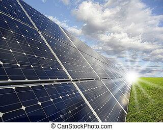 solaire, -, puissance, photovoltaics, station