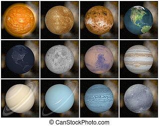 solaire, render, -, système, planètes, 3d