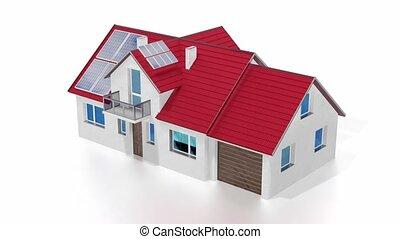 solaire, toit, 3d, -, maison, animation, panneaux, installed...