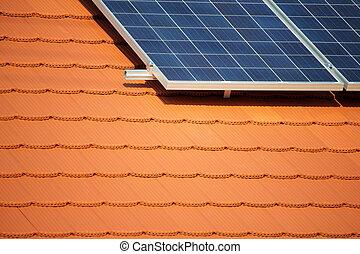 solaire, toit, panneau