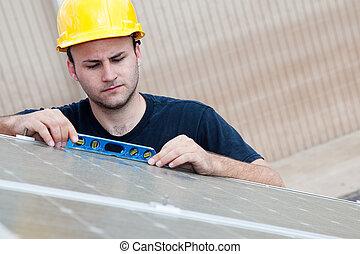 solaire, -, vérification, niveau, panneaux
