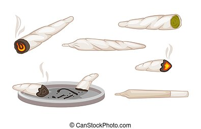 solamente, cigarrillo, marijuana, shoals., extinguido, cuidadosamente, relaxation., envuelto, vector, cáñamo, clipart., casi, papel, empalma, ganja, cenicero, hachís, fumar, narcótico, verde, fumados, lit