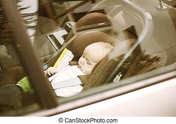 solamente, coche, bebé, olvidado