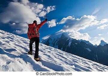 solamente, glaciar, alpinista