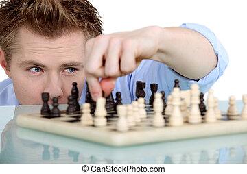 solamente, hombre, ajedrez, juego