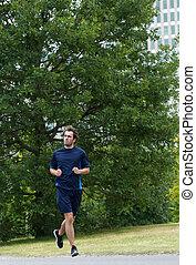 solamente, jogging, joven