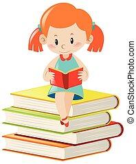 solamente, lectura de la muchacha, libro