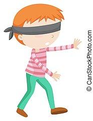 solamente, niño, ambulante, con los ojos vendados