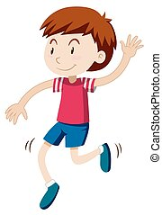 solamente, niño, feliz, bailando