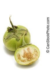 Solanum macrocarpon - African Eggplant Gboma on white ...