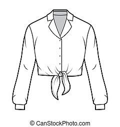 solapa, ilustración, sleeves., largo, camisa, moda, tie-...