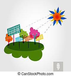 solar, árboles, city:, verde, sol, ir, panels.
