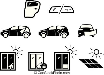 Solar and automotive service. Icons for design