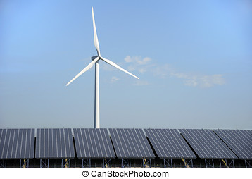 Solar and wind energy plant - Solar cells and power wind...