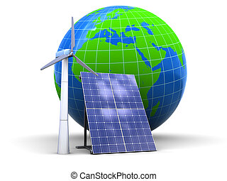 solar and wind power - abstract 3d illustration of wind and...
