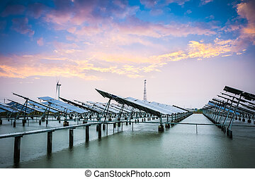 solar and wind power in sunset