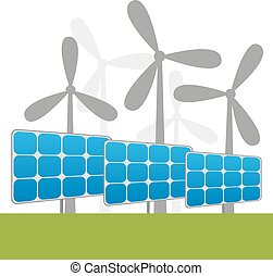 Solar and windmills power plants