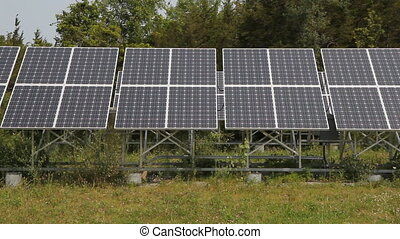 Solar array in rural area. Detail. Prince Edward County,...