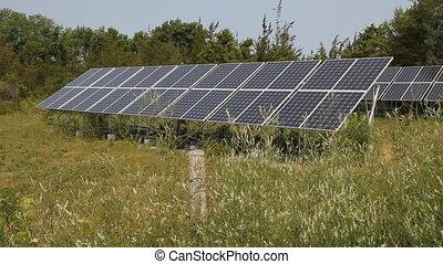 Solar arrays in rural area.